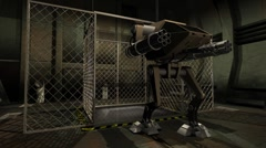 Animation of a futuristic robot stepping out of an elevator Stock Footage