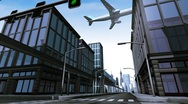 Monorail and airplane in city scene Stock Footage