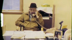 SMALL BUSINESS Office Workers Men 1970 (Vintage Retro Film Home Movie) 612 Stock Footage