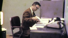 WHITE COLLAR NERDs Male Female Office Worker 1970s Vintage Film Home Movie 613 Stock Footage