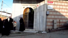 Turkey Istanbul conservative Islamic women mosque Stock Footage