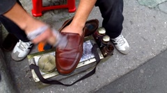 Turkey Istanbul old town shoes shiner polishing shoes Stock Footage