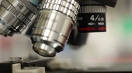 Stock Video Footage of Microscope Objective Lens Change