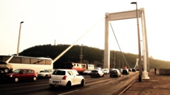 Elizabeth Bridge Traffic in Budapest Hungary artsoft filmlook - stock footage