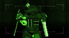 Robot mech warrior in nightvision Stock Footage