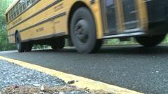 Buses leaving school. (1 of 2) Stock Footage