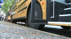 Students getting on bus. (3 of 3) - stock footage