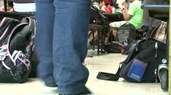 Students waiting for bell in cafeteria. (1 of 4) - stock footage