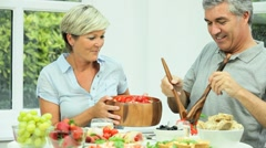 Mature Couple Eating Healthy Fresh Food Stock Footage