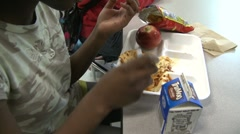 Kids at school lunch (1 of 5) Stock Footage