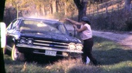Woman Washing Cleaning Car Carwash 1970s Vintage Film 8mm Home Movie 621 Stock Footage