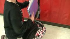 Student empties bookbag (2 of 7) Stock Footage