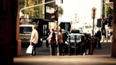 European City Street  Budapest Hungary 22 stylized artsoft filmlook Stock Footage