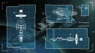 Futuristic blueprint of a spaceship Stock Footage