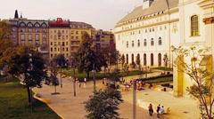 European Square Budapest Hungary stylized retro filmlook - stock footage