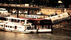 Pest Wharf in Budapest Hungary stylized artsoft diffusion - stock footage