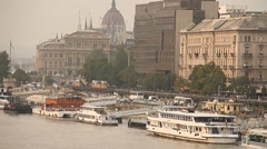 Pest Wharf View with the Parliament Building Budapest Hungary neutral Stock Footage