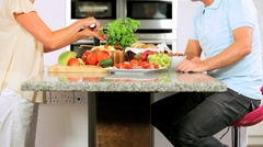 Mature Female Chopping Salad Vegetables for Lunch Stock Footage