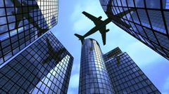 Airplane flying above office buildings Stock Footage