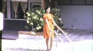 Pretty Young Thai Woman Poolside Portrait 1960s Vintage Film Home Movie 687 Stock Footage