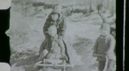 Boys Waving Hello Playing in Snow Sledding 1930s Vintage Film Home Movie 648 Stock Footage