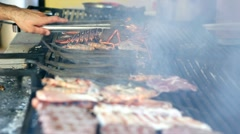 Seafood On The Grill Stock Footage