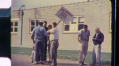 Union Workers Men On Strike Picket Line Protest 60s Vintage Film Home Movie 651 Stock Footage