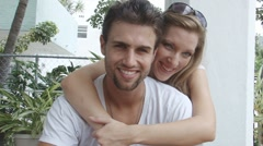 Young beautiful couple in love at miami beach - stock footage