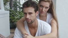 Happy young couple embracing Stock Footage