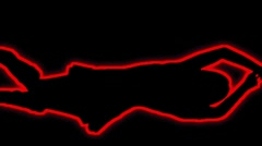 02- Vertical HD sexy dancer silhouette - red neon on black - stock footage