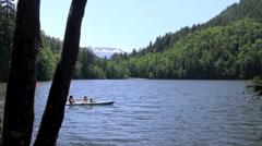 Kayaking on a lake - stock footage
