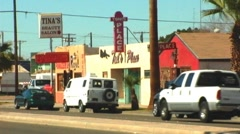 Small Businesses On Border Town Street Stock Footage