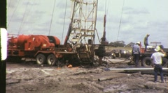 Oil Gas Exploration Men Drilling Well Fracking 1960s Vintage Film Home Movie 696 Stock Footage