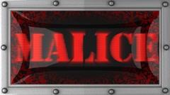 malice on led - stock footage