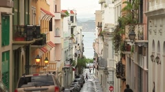 Old city San juan Street Stock Footage