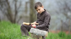 Boy sculptor Stock Footage