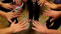 Group/Circle of hands just after getting a french tip manicure Stock Footage
