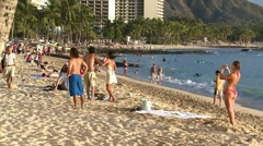 People walking in a tropical beach Stock Footage
