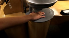 Hand in dryer during a manicure Stock Footage