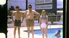 Family Vacation at the Motel Pool Travel Hotel 1968 Vintage 8mm Home Movie 667 - stock footage