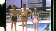 Stock Video Footage of Family Vacation at the Motel Pool Circa 1968 (Vintage 8mm Home Movie) 667
