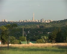 Joburg Skyline from green, leafy suburb 2005, GFSD - stock footage
