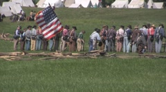 Stock Footage - Civiel War - Union Soldiers Prepare for battle - Great flag shot Stock Footage