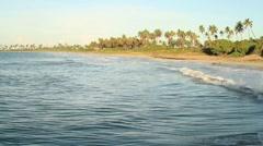 Water waves breaking in the beach Stock Footage