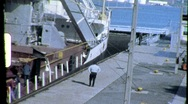 Ship Docked Commercial Shipping Erie Canal 1960s Vintage Film Home Movie 706 Stock Footage