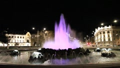 Schwarzenbergplatz in Vienna in the night Stock Footage