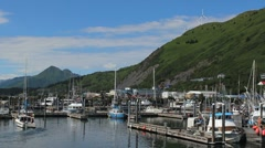 Boat Leaves Dock Kodiak Island Alaska ED Stock Footage