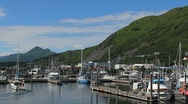 Stock Video Footage of Boat Leaves Dock Kodiak Island Alaska