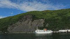Sail By Cruise Ship And Hillside Turbines ED Stock Footage