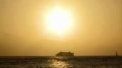 Ship and yacht sailing under the sun Stock Footage